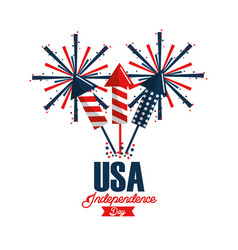 independence day with fireworks celebration vector image