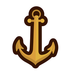 Gold silhouette of anchor icon with thick contour vector