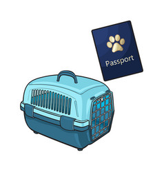 Travel with cats dogs - blue plastic carrier and vector