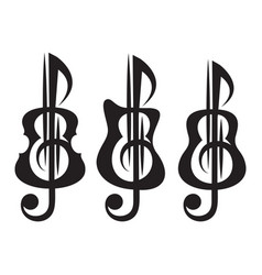 different kinds of guitar violin treble clef vector image