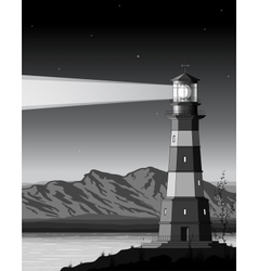 Night landscape with detailed lighthouse mountains vector
