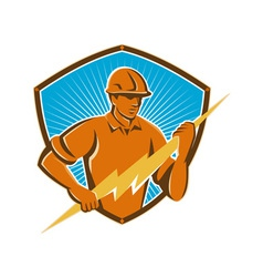 Electrician construction worker retro vector