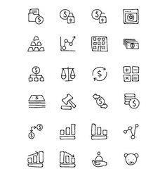 Finance hand drawn doodle icons 2 vector