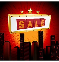 Sale sign over abstract cityscape vector