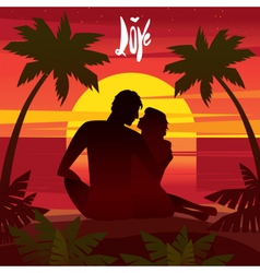 Love at sunset vector