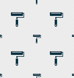 Paint roller icon sign seamless pattern with vector