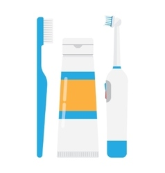 Tooth brushes toothpaste and electric toothbrush vector