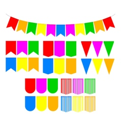 Set festive flags vector