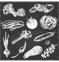 Collection of hand-drawn vegetables in vintage vector