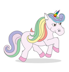 a funny unicorn character flat vector image