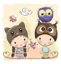 Boy and girl with cute owl vector