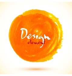 Bright orange watercolor circle vector image