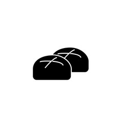 buns roll baked bread icon vector image