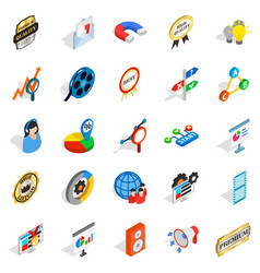 Call service icons set isometric style vector
