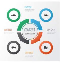 Car icons set collection of car lorry carriage vector