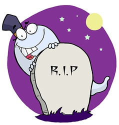 Cartoon Character Happy Ghost Behind The Tombstone vector image