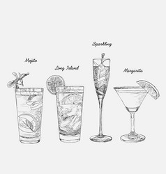 cocktails - set of hand-drawn drinks margarita vector image