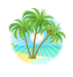coconut palm trees on a island with sun on white vector image vector image
