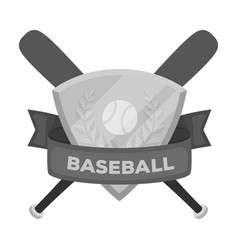 Emblem baseball single icon in monochrome style vector