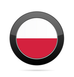 Flag of poland shiny black round button vector
