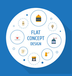 Flat icons mug coffeemaker ibrik and other vector