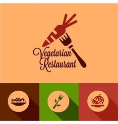 Flat vegetarian restaurant icons vector