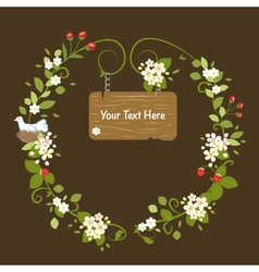 Floral frame vintage message wood card spring vector
