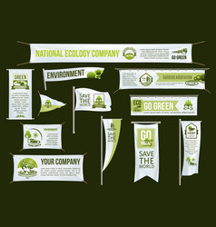 Green ecology company advertising icons set vector
