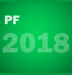 Green happy new year pf 2018 from little vector