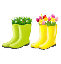 Gumboots set with grass and flowers vector