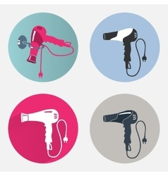 Hair drier icon set Blow hairdryer with two pin vector image vector image
