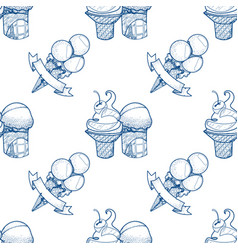Ice cream waffle cup outline seamless pattern for vector