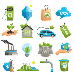isolated eco icon set vector image vector image