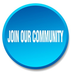 Join our community blue round flat isolated push vector