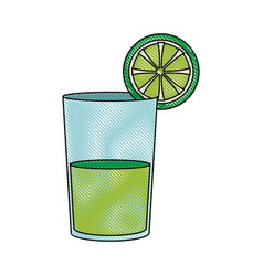 Lemon juice in a glass organic tropical fruit vector