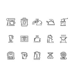 Line icons kitchen utensils appliances and vector