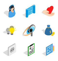 Quality assurance icons set isometric style vector