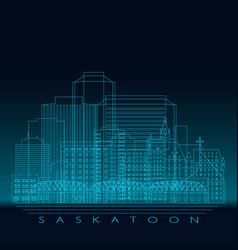 saskatoon skyline detailed silhouette modern vector image
