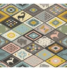 Seamless navajo pattern with rhombus Pencil vector image vector image