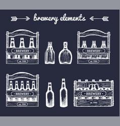 set of vintage brewery elementsretro vector image
