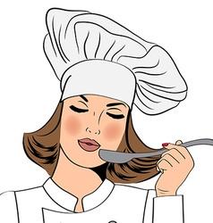 Sexy chef woman in uniform taste the food vector