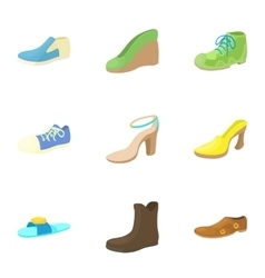 Shoes icons set cartoon style vector image