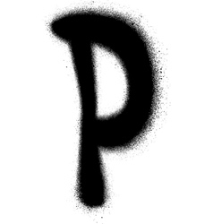 sprayed P font graffiti in black over white vector image vector image