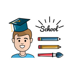 Student with pencils and paint brush school tools vector