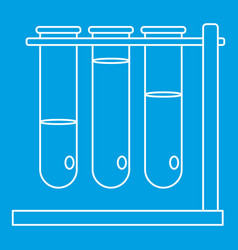 three beakers icon outline style vector image