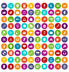 100 different gestures icons set color vector