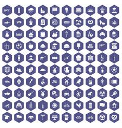 100 mill icons hexagon purple vector
