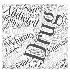 Whitney houston drug addiction word cloud concept vector