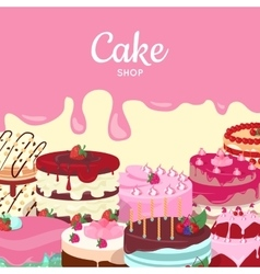 Cake shop set of decorated cakes confectionery vector