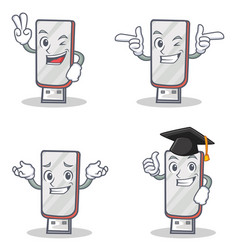Set of flashdisk character with two finger wink vector
